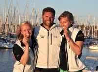 Siegerehrung - Anika Lorenz, Trainer Mike Knobloch, Steuerfrau Annika Bochmann (v.r.n.l.)